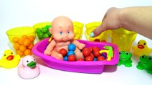 Baby Doll Bath Time Gumball M&M's Orbeez Learn Colors Finger Family Song Nursery Rhymes for babies