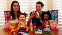 No Thumbs Challenge TWINS BATTLE TOY STYLE ~ No Thumbs Baby Alive Eating Barbie Dress Up L