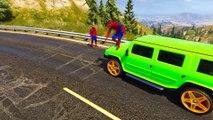 Fargede Offroad Biler Med Morsom Tegnefilm Spiderman Og Sang For Barnas