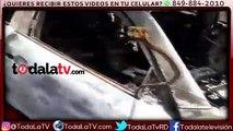 En estas condiciones quedó el vehículo del joven Eddy Peña, encontrado muerto este martes camino a La Toma de San Cristó