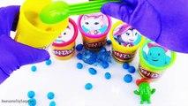 Les couleurs des œufs fille Apprendre masques pâte à modeler baignoires Surprise dippin dots pj owlette gekko luna