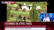 İstanbul Aksaray'da otobüs suya gömüldü!