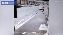 Pole position  Man clatters into pole before spilling his milk