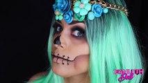 Maquillage tutoriel visage de halloween calaverico