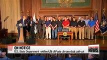 U.S. State Department notifies UN of Paris climate deal withdrawal