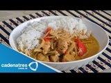Camarón y pescado en curry estilo thai. Camarones estilo thai / Pescado estilo thai
