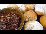 Receta de bolitas zeppole con salsa de chocolate. Bolitas zeppole / Salsa de chocolate