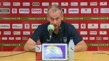 Réaction d'Olivier Pantaloni et Jean-Marc Furlan après AC Ajaccio - Stade Brestois 29