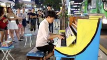 Beethoven Moonlight Sonata 3rd mvt. played by 10 Street Pianists