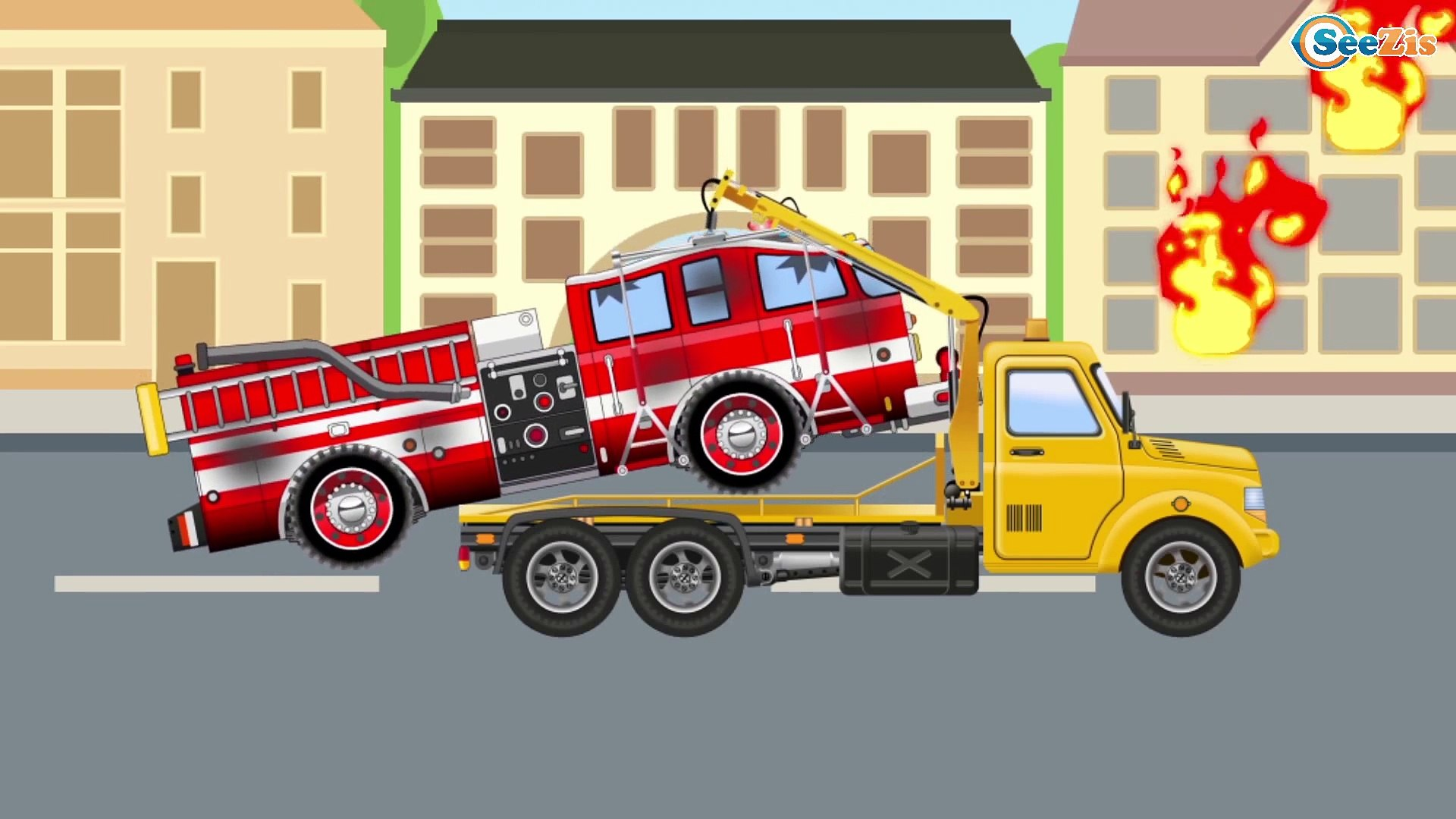 Camion De Pompier Et Police Dessin Anime Heros De La Rue