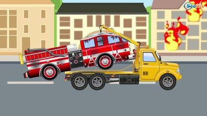 Camion de pompier et Police dessin animé - Héros de la Rue - Compilation
