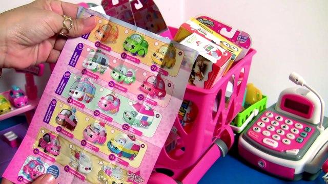 HUGE Shopping Cart Full of Shopkins Cutie Cars Toys & Kinder Surprises Mini Shopkin Cars by Funtoys