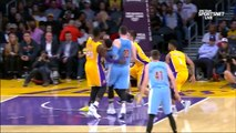 October 7, 2016 Nuggets vs. Lakers Ivica Zubac Blocks Emmanuel Mudiay & Randle Pass For Du