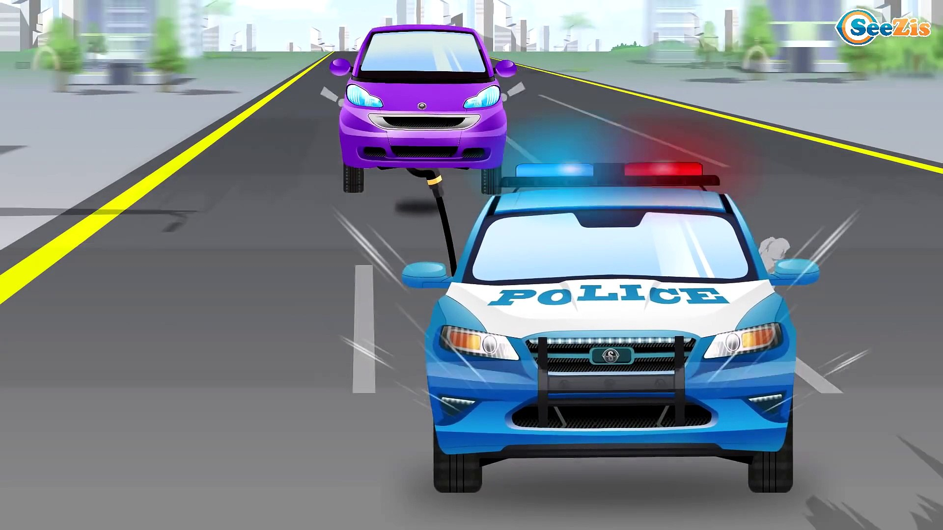The Police Car w Little Pink Car and Cop Cars Race | Service Cars & Trucks Cartoon for children