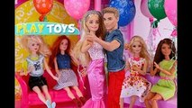 Barbie Doll Birthday Party Routine in the Doll House - Barbie & Ken dance by Play Toys w/ baby dolls