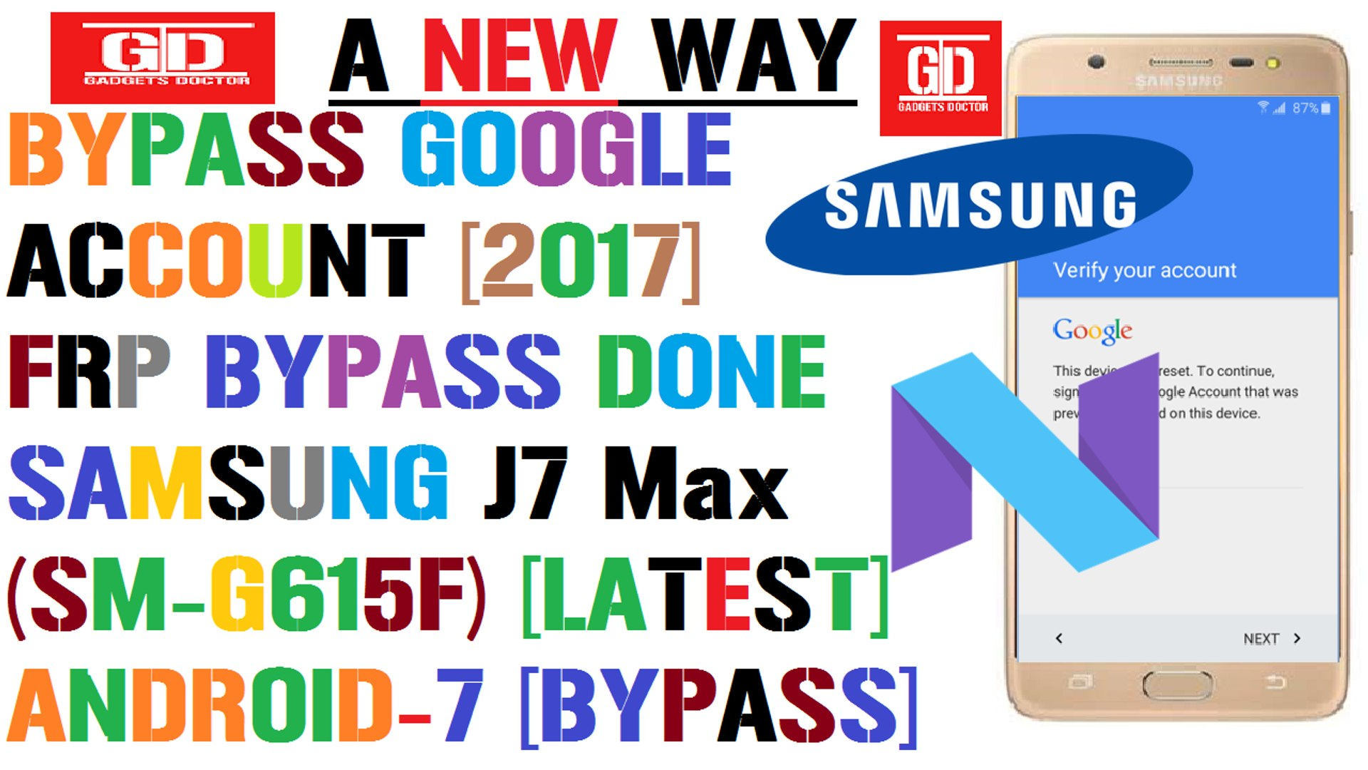 Latest - Bypass Google Account Done On Samsung J7 Max Sm-G615F Android-7  -2017