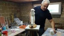 Bande-dessinée : le sculpteur Samuel Boulesteix assemble une statue de Spirou