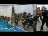 VIDEO: Enfrentamiento entre Policías y Bomberos en Iztapalapa