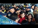 Enfrentamiento entre invidentes y granderos en el Zócalo capitalino