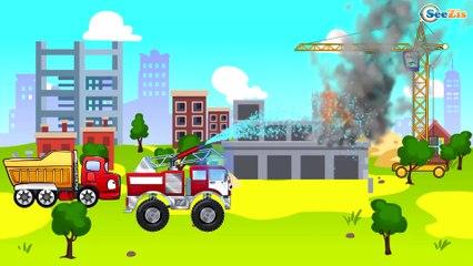 ✔ Carritos Para Niños. Camión, Ambulancia, Camión de bomberos. Dibujos animados educativos ✔