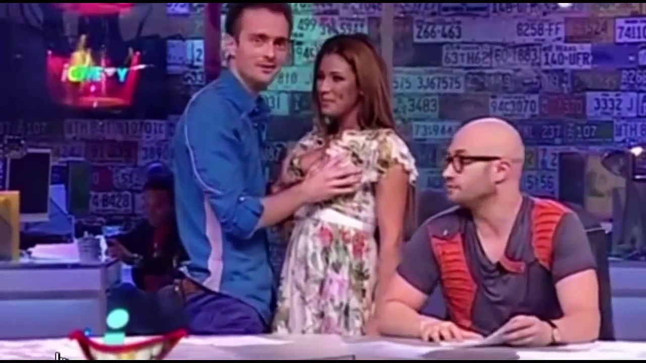 TV host squeezes sexy co stars boobs on air in real or
