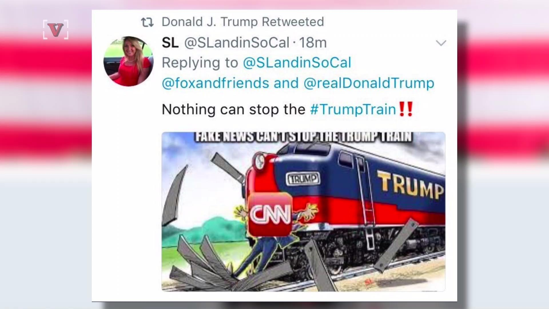 Trump Retweets a 'Trump Train' Hitting CNN, an Alt-Right Troll and a Man Calling Him a