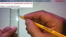 Maths 6ème - Les Bases De La Géométrie : Droites perpendiculaires Exercice 3
