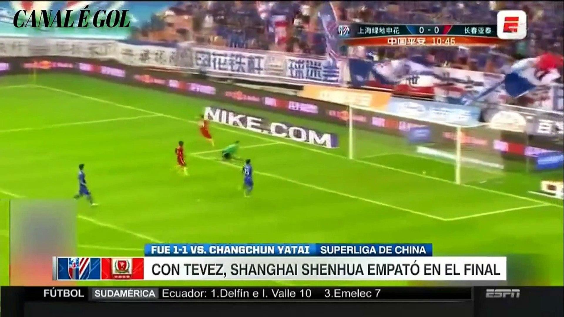 Futebol-Equipe de TEVEZ empata Superliga da China (Gols)