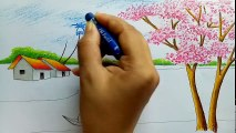 How to draw landscape _ scenery of spring season with oil pastels color step by step