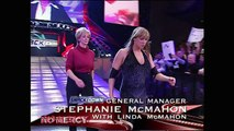 Stephanie McMahon (w/ Linda McMahon) vs. Vince McMahon (w/ Sable)