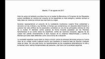 """Congreso expresa su rechazo, """"sin una sola fisura"""", al atentado de Barcelona"""