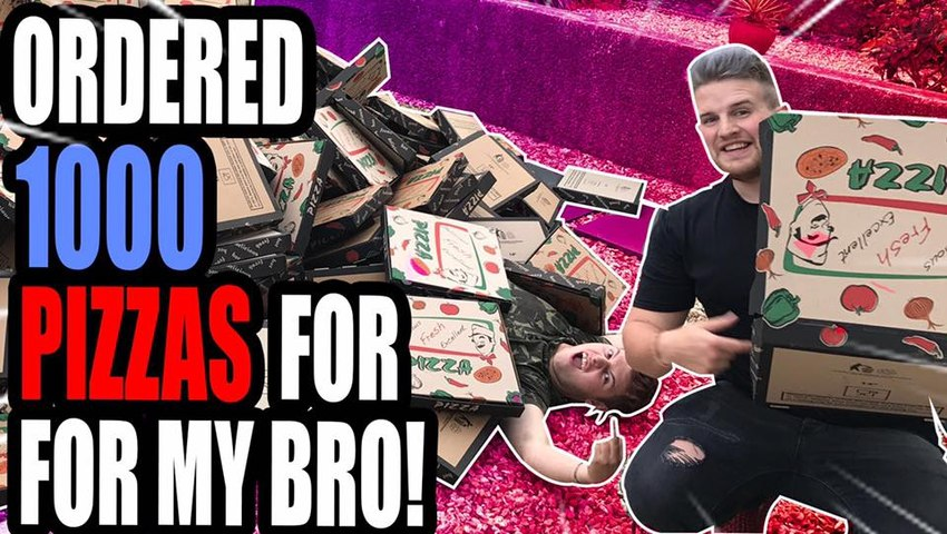 DELIVERED 1000 PIZZA'S TO MY BRO --PRANK!--