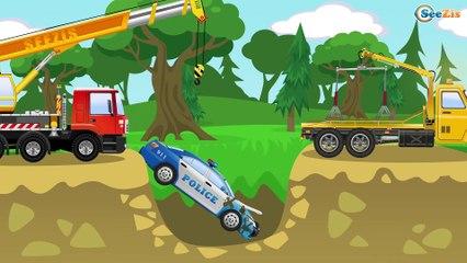 Carros infantiles - Coche de Policía, Camión de Bomberos - Coches para niños - Caricatura de carros!