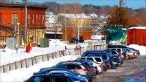 Puissant souffleur de train à neige à grande puissance grâce à des pistes de chemin de fer en pleine neige Full HD Compi