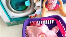 Baby washing clothes baby doll washing machine toy washing clothes changing baby emmi