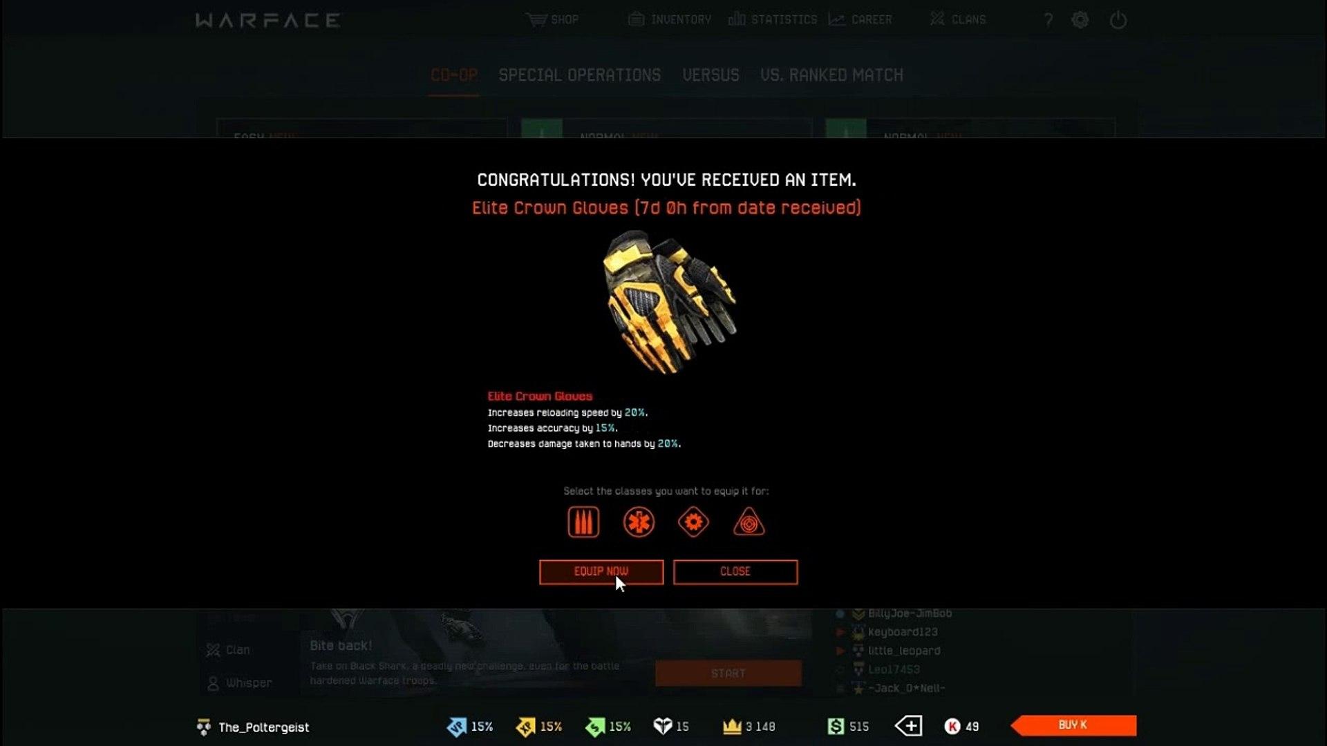 [EXPIRED!] Warface redeem code 30,000 xp crown gear December 2016