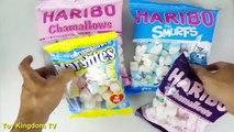 Bóc kẹo dẻo marshmallow- khám phá nhân kẹo chamallows, haribo smurfs (toy kingdom tv) Ba c