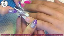 Acrylic Nails l Infill l Purple & Black With Flowers l Nail Design
