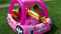 Little Babies Playing in Pool Lightning Mcqueen Cars, WATER Balloons Summer Fun Pool Games