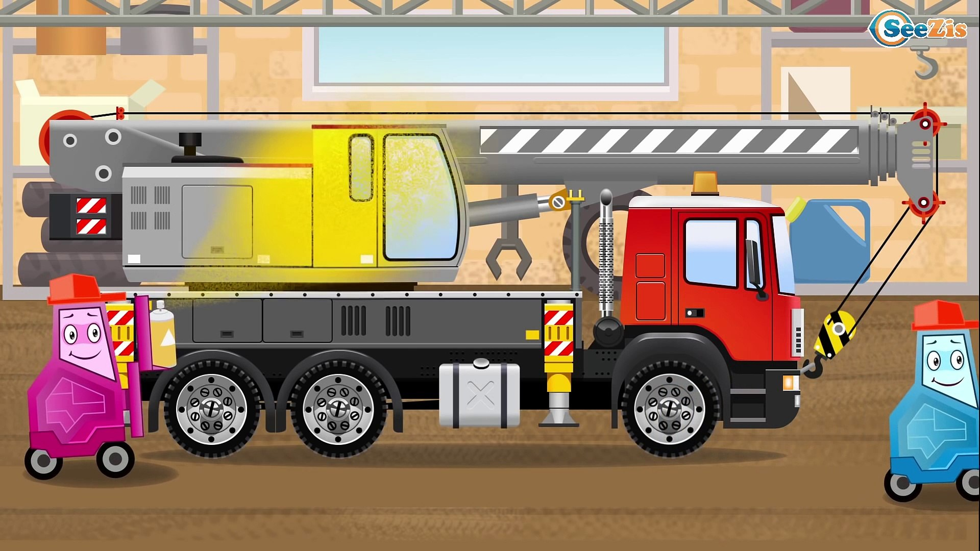 Мультики для детей Трактор едет на помощь в городе Видео для детей Tractor on the road kids video