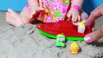 Baby Alive Doll EATING Sand Beach - Snackin Sara Plays with Shopkins Surprises by Eating &