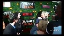 ORANGE IS THE NEW BLACK SEASON 5 Interview Premiere LAURA PREPON HUGS TAYLOR SCHILLING 201
