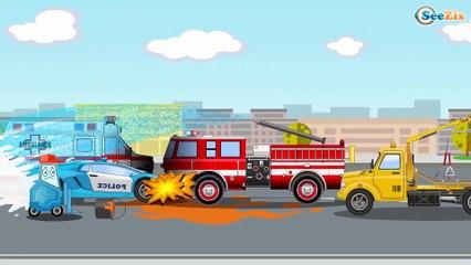 Camión de Bomberos SalvaVidas. Grandes Vehículos Para Niños Pequeños. NUEVA Dibujos