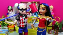 GIANT Surprise Eggs Play Doh Wonder Woman Harley Quinn - DC Super Hero Girls Mystery Toys