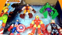 Playskool Heroes Marvel Super Hero Adventures Mech Armor Captain America Iron Man Hulk Spi