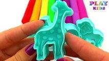 Et argile les couleurs léléphant amusement amusement girafe Apprendre moules jouer avec zèbre Doh zoo animal lion creativ