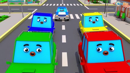 The Blue Police Car - Cars & Trucks Cartoon Animation for Kids - Vehicle & COLOURS Car for babies