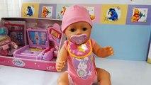 Muñeca Bebé Interiva Baby Born BANDAI en español   La bebé come papilla llora y hace pi