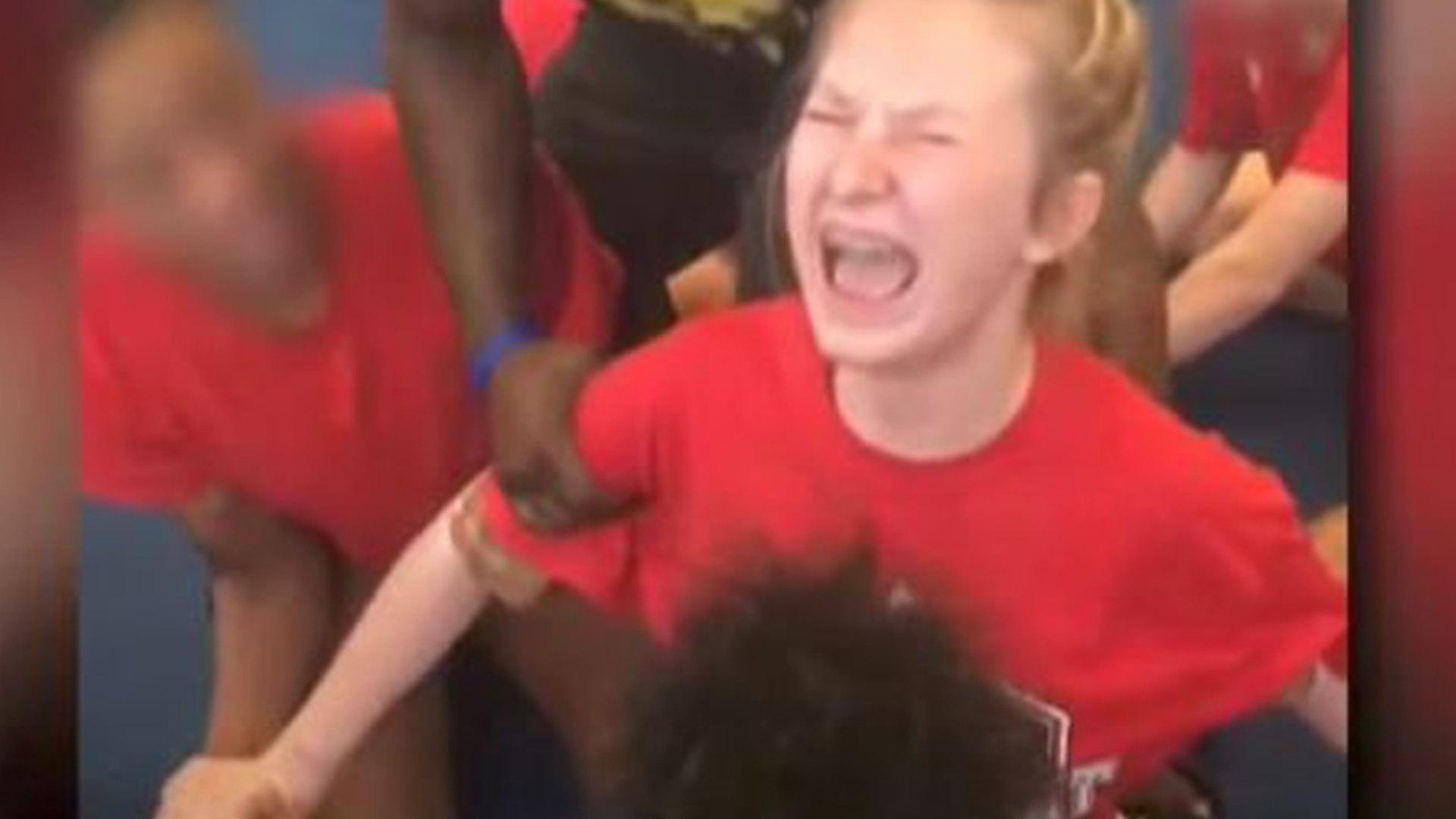 High School Cheerleaders SCREAM While Forced to Do Leg Splits