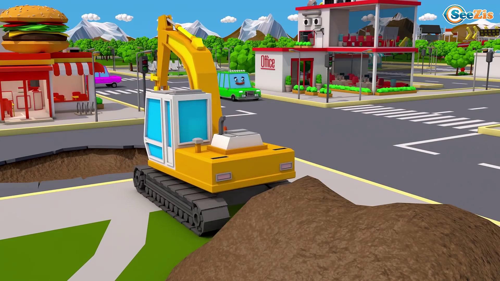 Super Truck and Monster Truck in Trucks City 3D Animation   Trucks Cartoon for kids Trucks Stories